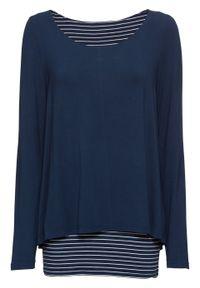 Długi shirt z długim rękawem, dwuwarstwowy bonprix ciemnoniebiesko-biały. Kolor: niebieski. Materiał: materiał. Długość rękawa: długi rękaw. Długość: długie