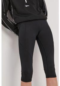 Czarne legginsy Reebok gładkie, z podwyższonym stanem