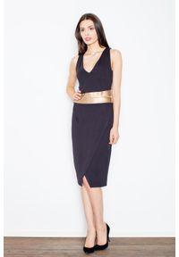 Figl - Czarna Kobieca Sukienka Midi z Panelami z Eko-skóry. Kolor: czarny. Materiał: skóra. Długość: midi