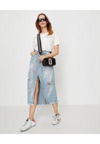 ONETEASPOON - Jeansowa spódnica Rocko. Stan: podwyższony. Kolor: niebieski. Materiał: jeans. Wzór: gładki, aplikacja