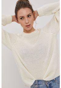 Vero Moda - Sweter. Okazja: na co dzień. Kolor: beżowy. Materiał: włókno, materiał. Długość rękawa: raglanowy rękaw. Styl: casual