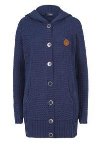 Sweter rozpinany z kapturem bonprix ciemnoniebieski. Typ kołnierza: kaptur. Kolor: niebieski. Materiał: skóra. Długość: długie