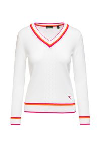 Biały sweter Chervo z kontrastowym kołnierzykiem, w prążki