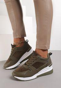Renee - Oliwkowe Sneakersy Anemisia. Kolor: zielony