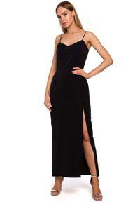 MOE - Czarna Maxi Sukienka na Ramiączkach z Połyskiem. Kolor: czarny. Materiał: poliester, elastan. Długość rękawa: na ramiączkach. Długość: maxi