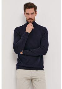 Niebieski sweter Selected z długim rękawem, gładki