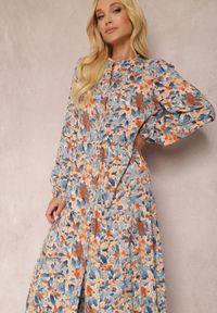 Renee - Niebiesko-Pomarańczowa Sukienka Phaelerine. Kolor: niebieski. Długość rękawa: długi rękaw. Wzór: kwiaty. Styl: klasyczny. Długość: maxi