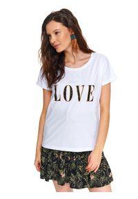 Biały t-shirt TOP SECRET na lato, na co dzień