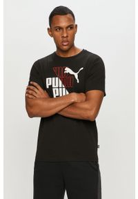 Czarny t-shirt Puma z nadrukiem, casualowy, na co dzień
