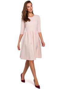 MAKEOVER - Beżowa Rozkloszowana Sukienka z Rękawem za Łokcie. Kolor: beżowy. Materiał: poliester, elastan