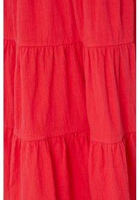 medicine - Medicine - Sukienka Essential. Kolor: czerwony. Materiał: dzianina. Długość rękawa: na ramiączkach. Wzór: gładki. Typ sukienki: rozkloszowane