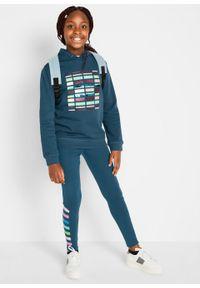 Niebieska bluza bonprix z kapturem, na zimę, z aplikacjami