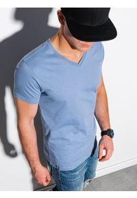Ombre Clothing - T-shirt męski bawełniany basic S1369 - niebieski - XXL. Kolor: niebieski. Materiał: bawełna. Styl: klasyczny