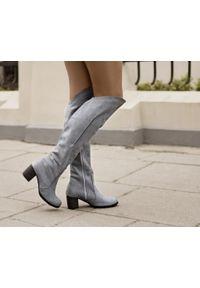 Szary kozaki Zapato z cholewką przed kolano, wąskie, w kolorowe wzory