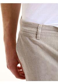 Beżowe spodnie TOP SECRET do pracy, casualowe