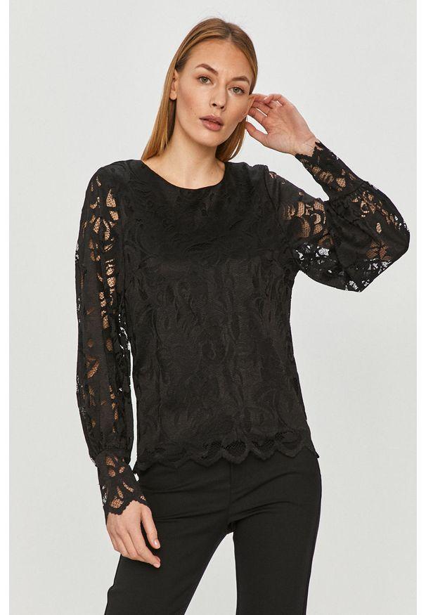 Czarna bluzka Vila elegancka, w koronkowe wzory