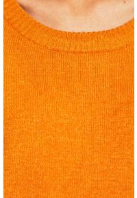 Pomarańczowy sweter Vila na co dzień, z okrągłym kołnierzem, casualowy