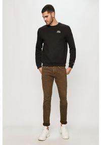 Czarna bluza nierozpinana Guess Jeans z nadrukiem, na co dzień, casualowa, z kapturem