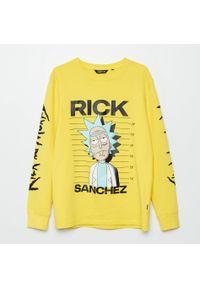 Cropp - Koszulka longsleeve Rick and Morty - Żółty. Kolor: żółty. Długość rękawa: długi rękaw