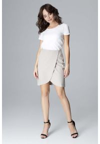 Szara spódnica asymetryczna Katrus krótka, elegancka