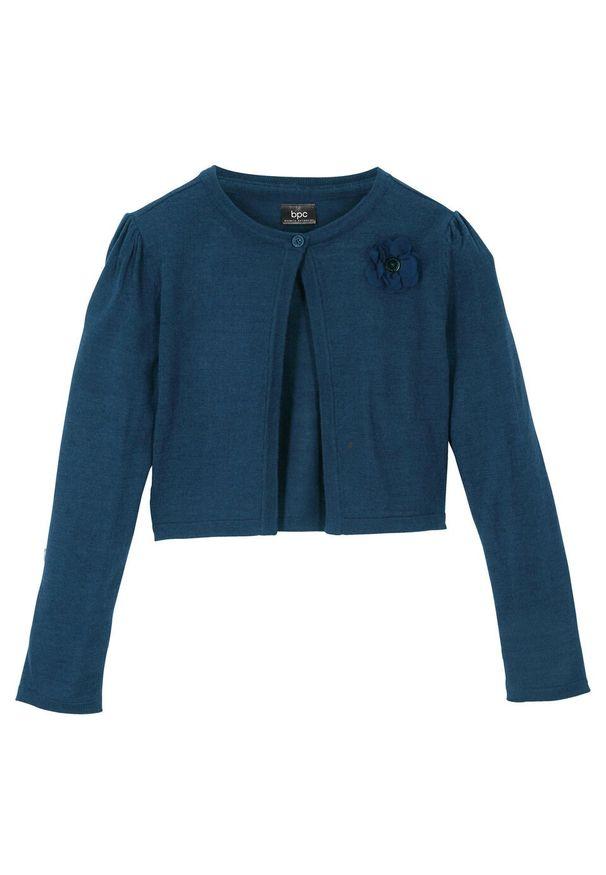 Niebieski sweter bonprix z aplikacjami, elegancki