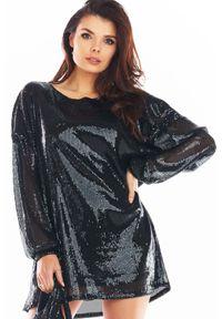 Awama - Luźna Mini Sukienka w Stylu Glamour - Czarna. Kolor: czarny. Materiał: poliester. Styl: glamour. Długość: mini