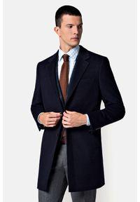 Lancerto - Płaszcz Granatowy Regent. Kolor: niebieski. Materiał: bawełna, materiał, wełna. Sezon: jesień. Styl: elegancki