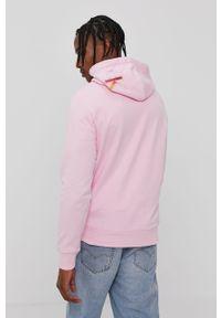 Różowa bluza nierozpinana Calvin Klein Jeans z nadrukiem, casualowa, z kapturem, na co dzień