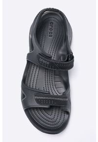 Czarne sandały Crocs na rzepy, z okrągłym noskiem
