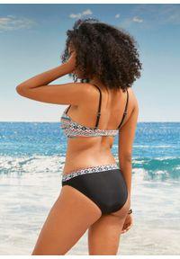Biustonosz bikini balkonetka bonprix koralowo-turkusowo-czarny w graficzny wzór. Kolor: czerwony
