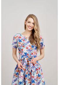 Marie Zélie - Sukienka Elina Procera. Materiał: bawełna, materiał. Długość rękawa: krótki rękaw. Typ sukienki: rozkloszowane. Styl: klasyczny