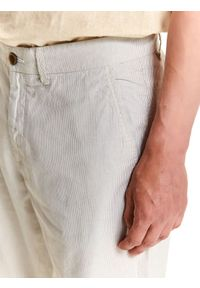 TOP SECRET - Szorty męskie z tkaniny strukturalnej. Okazja: na co dzień, do pracy. Kolor: szary. Materiał: tkanina. Długość: do kolan. Styl: elegancki, klasyczny, casual