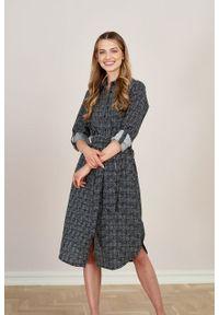 Marie Zélie - Sukienka Eliza Felicita. Materiał: bawełna, len. Długość rękawa: długi rękaw. Typ sukienki: szmizjerki. Styl: klasyczny