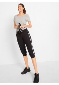 Czarne spodnie bonprix w paski, sportowe