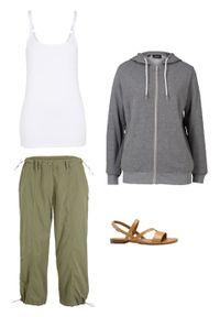 Bluza rozpinana z kapturem i wpuszczanymi kieszeniami bonprix szary melanż. Typ kołnierza: kaptur. Kolor: szary. Wzór: melanż