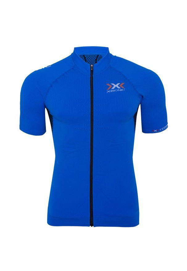 Niebieska koszulka termoaktywna X-Bionic z dekoltem woda
