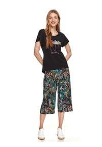 DRYWASH - T-shirt damski z nadrukiem w palmy. Kolor: czarny. Materiał: tkanina. Długość rękawa: krótki rękaw. Długość: krótkie. Wzór: nadruk. Sezon: lato. Styl: wakacyjny