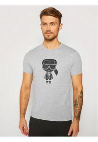 Szary t-shirt Karl Lagerfeld z dekoltem karo