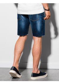 Ombre Clothing - Krótkie spodenki męskie jeansowe W309 - niebieskie - XXL. Kolor: niebieski. Materiał: jeans. Długość: krótkie. Sezon: lato. Styl: sportowy