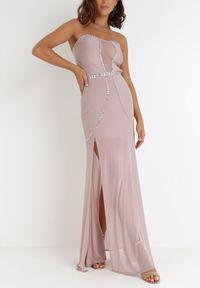 Born2be - Liliowa Sukienka Orixis. Kolor: fioletowy. Materiał: tiul, materiał. Długość rękawa: bez ramiączek. Wzór: aplikacja. Styl: wizytowy. Długość: mini