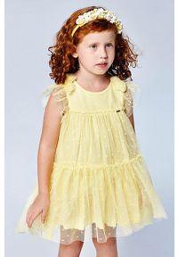 Żółta sukienka Mayoral gładkie, rozkloszowana, bez rękawów, mini