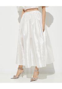 MACH&MACH - Jedwabna spódnica midi. Stan: podwyższony. Kolor: biały. Materiał: jedwab. Styl: wizytowy