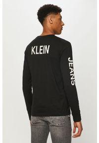 Czarna koszulka z długim rękawem Calvin Klein Jeans z nadrukiem, na co dzień, casualowa
