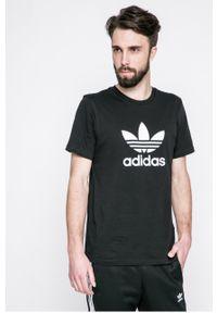 Czarny t-shirt adidas Originals z nadrukiem, na co dzień, casualowy