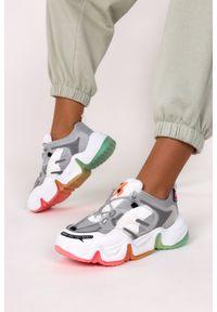 Casu - Szare sneakersy na platformie buty sportowe sznurowane casu 21f3/g. Kolor: biały, wielokolorowy, szary. Obcas: na platformie