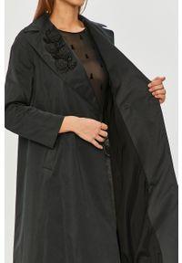 Czarny płaszcz TwinSet klasyczny, bez kaptura