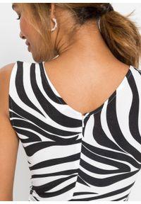 Sukienka ołówkowa bonprix czarno-biel wełny w paski zebry. Kolor: czarny. Materiał: wełna. Wzór: motyw zwierzęcy, paski. Typ sukienki: ołówkowe. Styl: elegancki