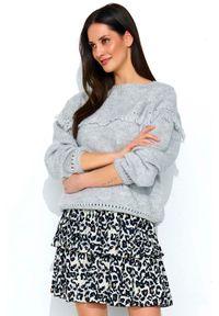 Szary sweter oversize Makadamia w ażurowe wzory