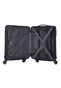 Niebieska walizka Wittchen klasyczna, w kolorowe wzory