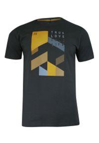 Pako Jeans - T-shirt Bawełniany, Grafitowy z Nadrukiem Geometrycznym, Męski, Krótki Rękaw, U-neck -PAKO JEANS. Okazja: na co dzień. Kolor: szary. Materiał: bawełna. Długość rękawa: krótki rękaw. Długość: krótkie. Wzór: nadruk. Styl: casual